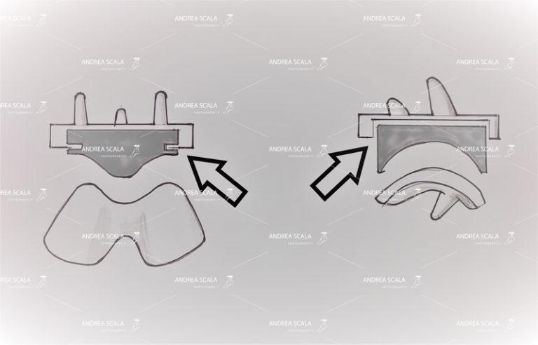 Schema che illustra il polietilene fisso, incastrato all'interno della componente